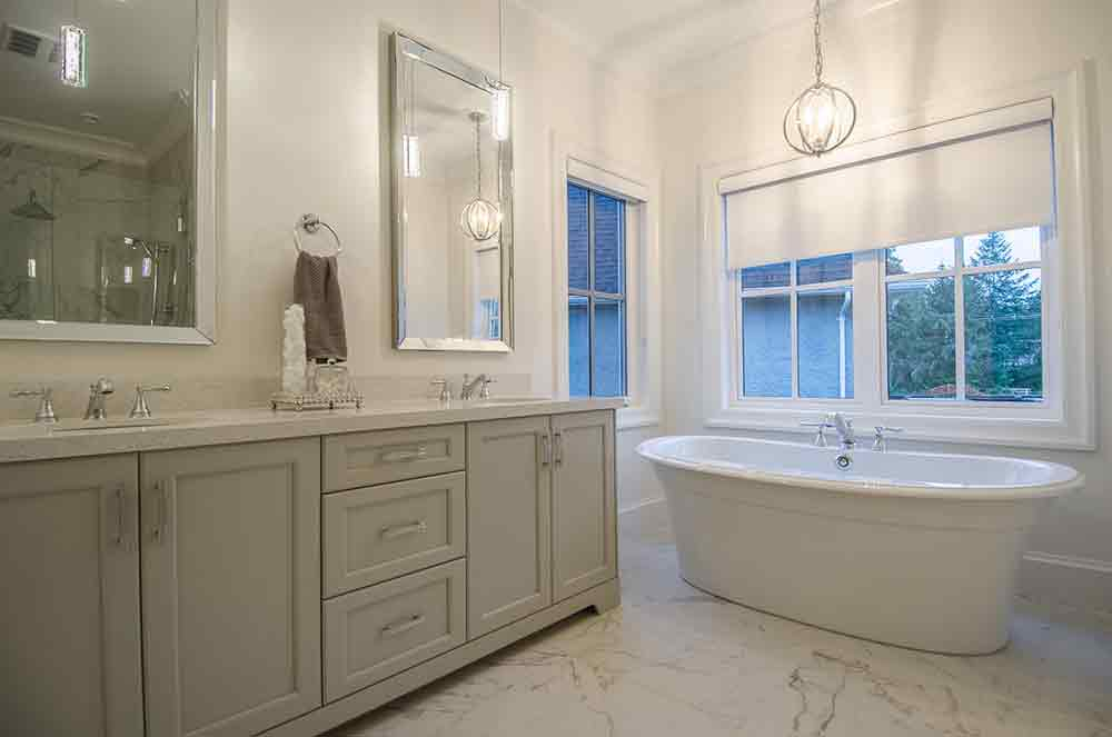 beige bathroom with tub