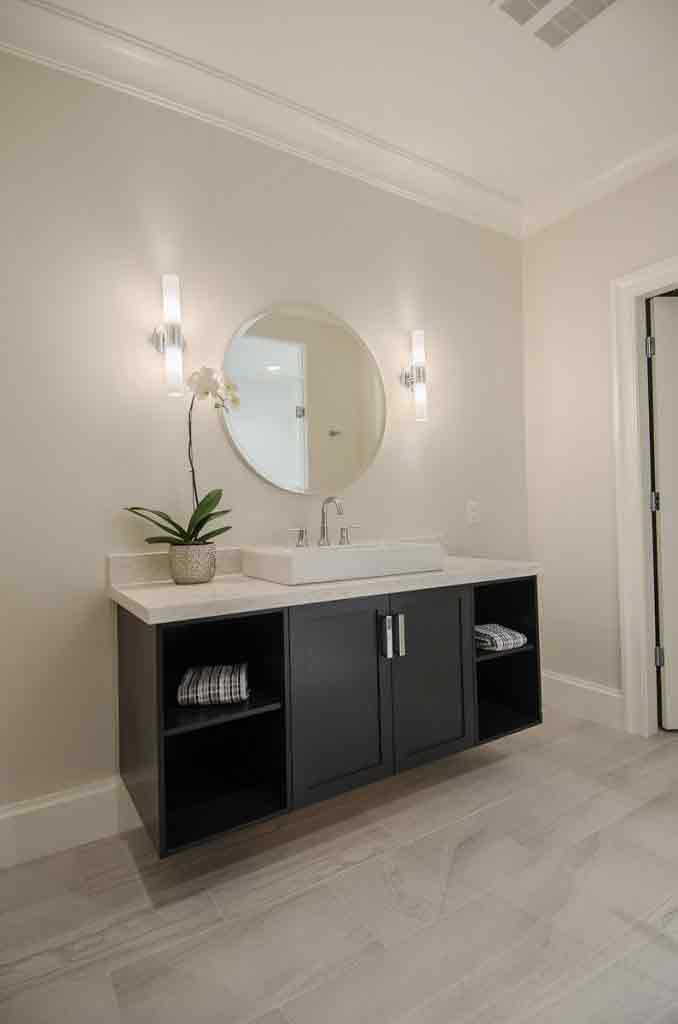 beige bathroom with mirror